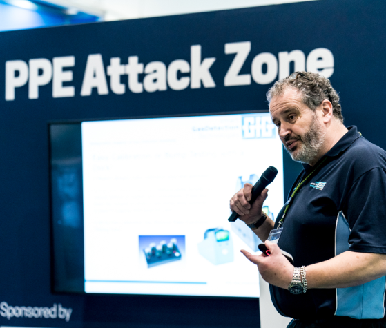 A presenter in the Safety Tech Theatre and  PPE Attack Zone at Safety & Health Expo 2019