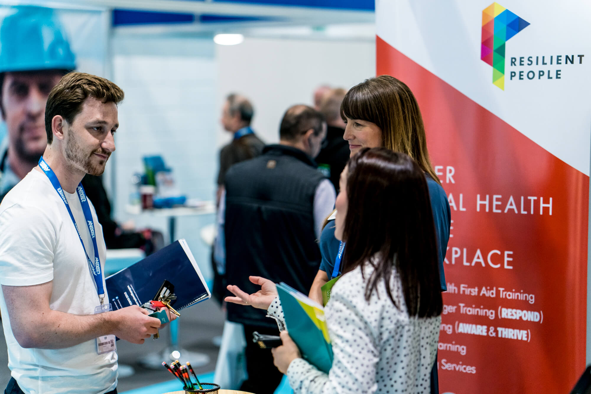 A visitor meeting exhibitors at Safety & Health Expo 2019