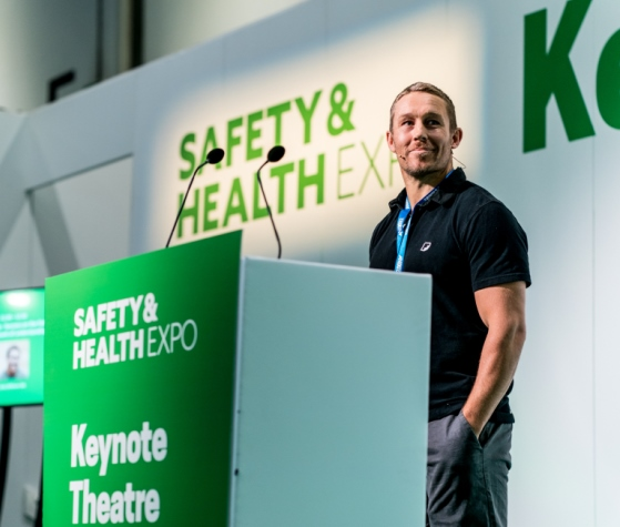 Jonny Wilkinson on stage in the Keynote Theatre at Safety & Health Expo 2019