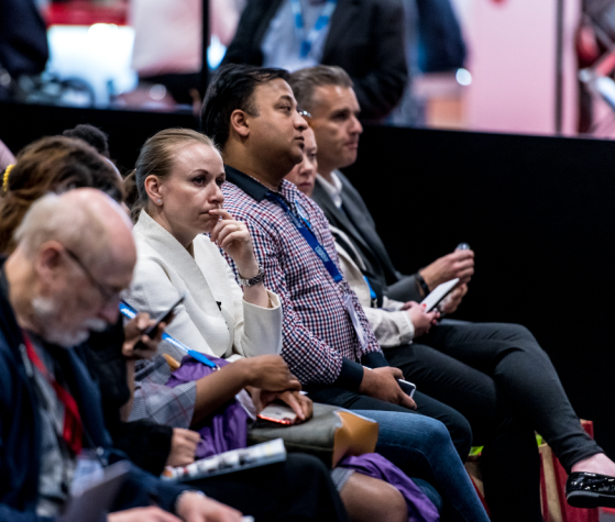 Thoughtful visitors in the audience of the Operational Excellence Theatre at Safety & Health Expo 2019